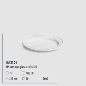 ASSIETTE OVAL 215MM BL