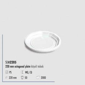 ASSIETTE OCTAGONALE 220CC BL